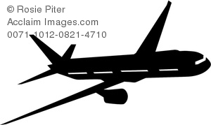 clip art silhouette of an airplane flying in the air