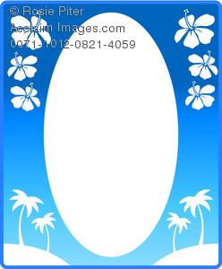 clip art image of an empty picture frame decorated with palm trees and flowers