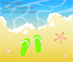 clip art image of a pair of green flip flop sandals laying on a beach