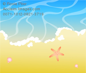 clip art image of an ocean beach with a starfish. Part of the