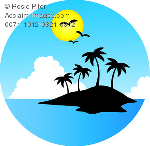 clip art image of a tropical island surrounded by water, with clouds and a full moon with birds flying over