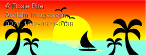 clip art illustration of a tropical beach with a sailboat on the water and the sun setting
