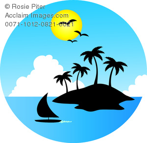 clip art image of a tropical island surrounded by water with a sailboat and a bright sun