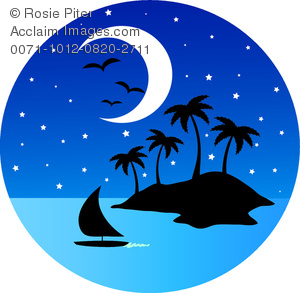 clip art image of a nighttime view of a tropical island with a half moon, sailboat, and bird flying