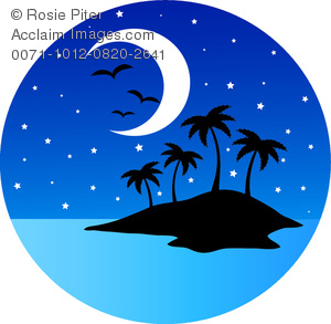 clip art image of a an island with birds, stars, and a half moon at dusk