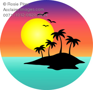 clip art image of a tropical island with a full moon