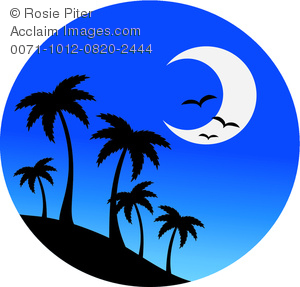 clip art image of palm trees on a hill with birds and a half moon