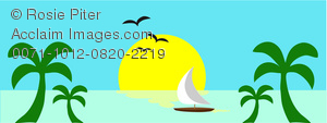 clip art image of a sail boat on the ocean with palm tree and a full moon