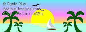 clip art image of a tropical scenery with a boat on the ocean, birds flying, palm trees, and the sun setting
