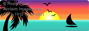 clip art image of a beautiful tropical scenery of the ocean with birds, a boat, palm trees and setting sun