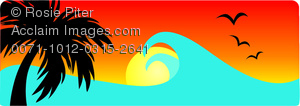 clip art image of a tropical scenery of the ocean with bird flying, a palm tree, and the sun setting