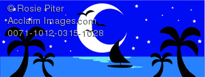 clip art image of a sailboat , palm trees, and a half moon on a tropical island