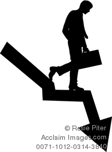 clip art silhouette of a man walkiing down a staircase with an arrow at the end