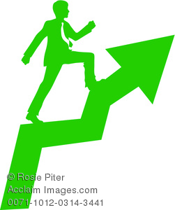 clip art silhouette in green of a businessman walking up a ladder to success