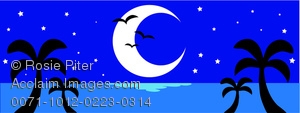 clip art image of a tropical night scene with palm trees, half moon, and birds flying