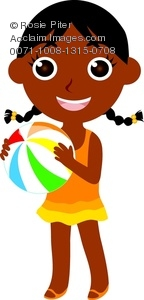 clip art image of an African American young girl happily playing on the beach with a beach ball