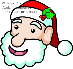 clip art image of a santa clause face with mistletoe in his hat