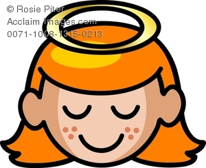 clip art image of a sweet young girl with her eyes close and a halo over her head