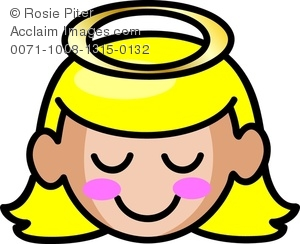 clip art illustration of a sweet young girl with golden hair and a halo over her head