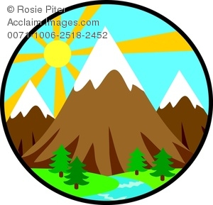 clip art image of mountains in the forest with a bright sun in the rh clipartguide com forest clip art black and white forest clip art background
