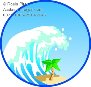 clip art illustration of a giant wave crashing down on a palm tree