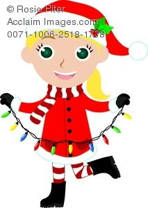 cartoon clipart of a girl wearing a santa costume and holding a string of christmas lights