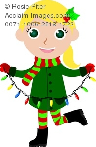 clip art image of a girl wearing holiday clothing and holding a string of christmas lights