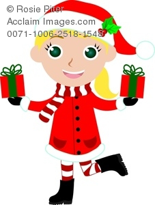 clip art image of a girl wearing holiday clothing and holding two christmas gifts