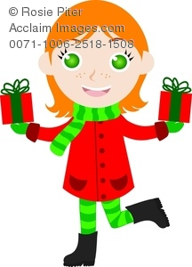 clip art image of a red headed girl holding two christmas gifts