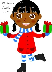 clip art image of a happy african american girl holding two christmas gifts