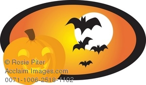 a smiling jack o lantern and bats flying in front of a full moon,
