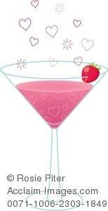 pink bubble hearts floating above a strawberry martini glass