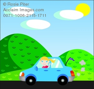 clip art illustration of a young girl driving a blue car down a country road waving out the window