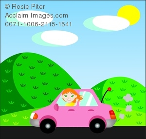 clip art illustration of a red headed girl driving in a pink on a country road waving out the window
