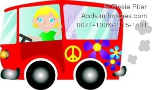 clip art illustration of a blonde girl driving in a red hippie bus and waving