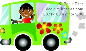 clip art illustration of an african american girl driving a green hippie bus and waving