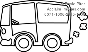 clip art illustration of a retro van in black and white