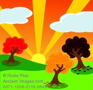 clip art illustration of colorful trees on green grass with the sun shining through