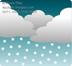 clip art image of a storm with rain clouds and rain coming down from the sky