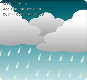 clip art illustration of rain clouds and rain dropping from the skies