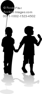 clip art illustration of a silhouette of two children walking. one has a balloon, and the other has an ice cream