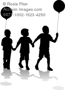 clip art illustration silhouette of three children walking hand in hand. Two of them are holding balloons