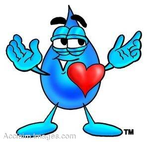 Waterdrop Cartoon Character With a Big Red Heart