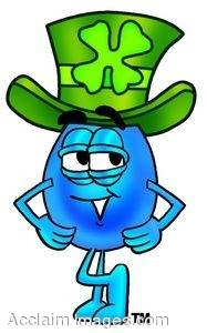 Waterdrop Wearing Green Shamrock Hat for Saint Patrick