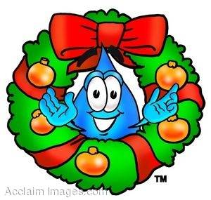 Waterdrop Cartoon Character in a Christmas Wreath