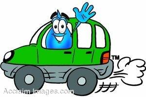 Waterdrop Cartoon Character Driving a Car and Waving