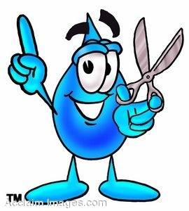 Waterdrop Cartoon Character Holding Scissors