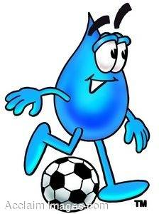 Waterdrop Cartoon Character Kicking a Soccer Ball