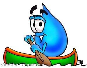 Waterdrop Cartoon Character Rowing a Boat