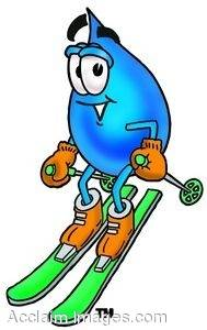 Waterdrop Cartoon Character Skiing